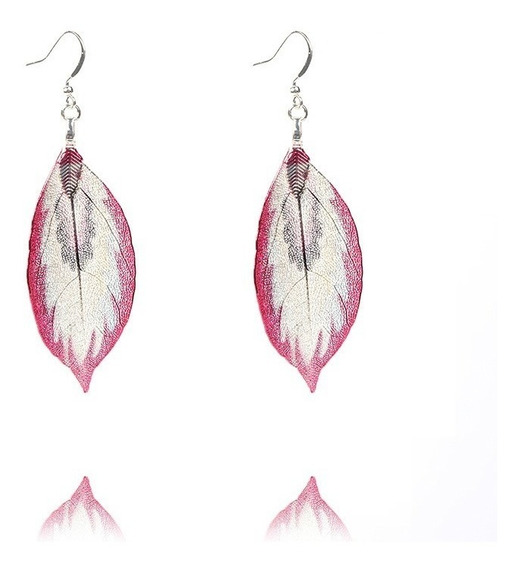 Aretes Hojas Naturales Regalo Estilo Coreano Rosa Moda Europ