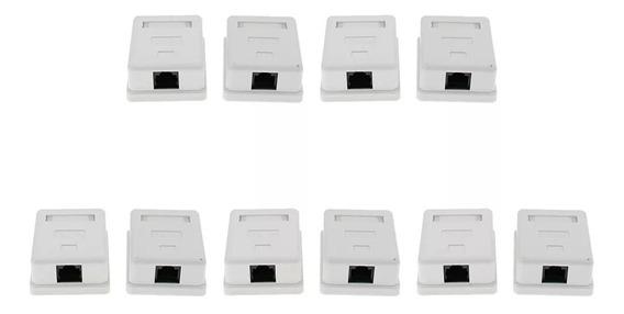 1 Port Keystone Surface Mount Box Kit Com 10 Unidades