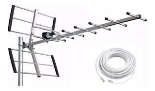 Antena Tda Exterior Tv Hd Satelital Apto 2 Tv C/cable 10 Mts