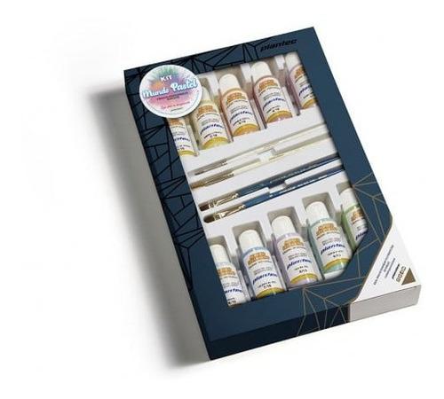 Imagen 1 de 2 de Kit Plantec Mundo Pastel Acrilicos + Pinceles