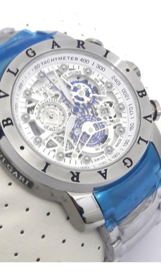 Relógio Masculino Bullgari Original Branco Funcional 12x