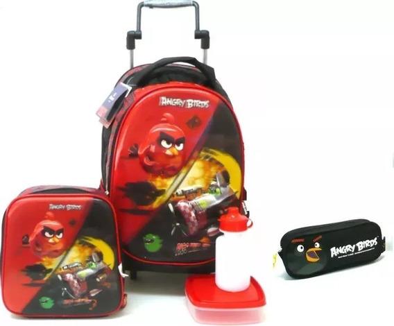 Kit Mochila Angry Birds 3d Holográfico Rodinhas G Santino