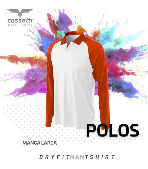 Playera Tipo Polo Cossetti Manga Larga Dry Fit Tallas Extra