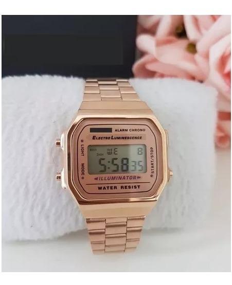 Relógio Pulso Rose Unisex Retrô Original Promoção