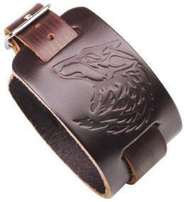 Pulseira Bracelete Lobo De Couro Unisex