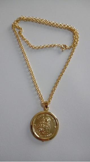 Colar Elo 45cm Com Linda Medalha De Santo Antonio Banhada