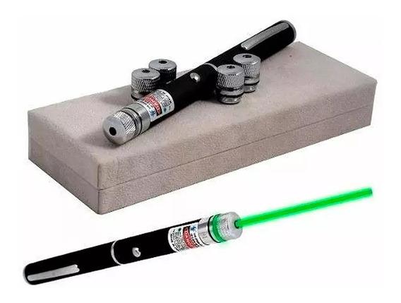 Caneta Laser Pointer Verde 9km 5 Pontas Co12 Ultra Potente