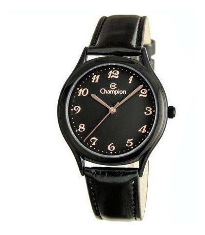 Relógio Champion Feminino Preto Couro Ch22233j