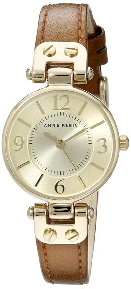 Reloj De Correa De Cuero Marrón Y Esfera Dorada De Anne K