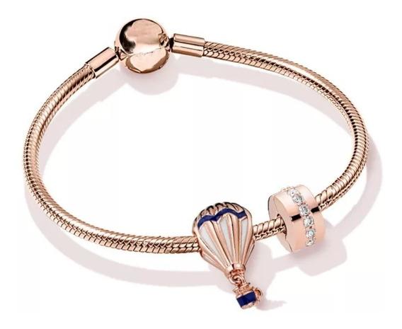 Pulseira Rosé Gold Crie&com Pandora Com 2 Berloques Charms