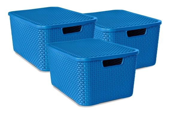 Kit 3 Caixas Organizadora Rattan Com Tampa 40 Litros Azul