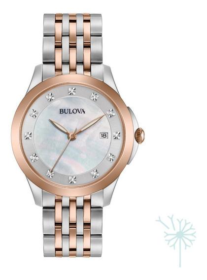 98p162 Reloj Bulova Quartz Diamante Dama Plateado/rosado