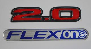 Emblemas 2.0 Vermelho + Flexone Mala Honda Civic (kit 2 Pçs)