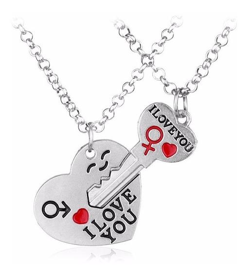 Colar Namorados Coração Chave I Love You - Presente Criativo