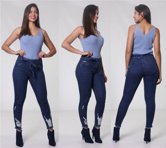 Calça Feminina C/cinto Empina Bumbum Skiny Biotipo Jeans