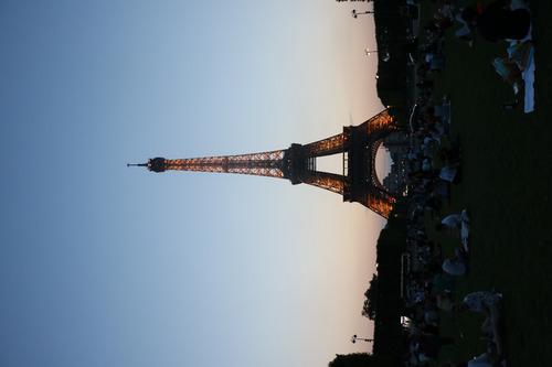 Imagen 1 de 4 de Cuadro 5-torre Eiffel-paris-atardecer-3 20x32 C/marco Madera