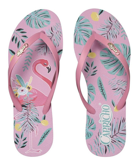 Chinelo Capricho Flamingo Tropical Rosa Claro Cp3154