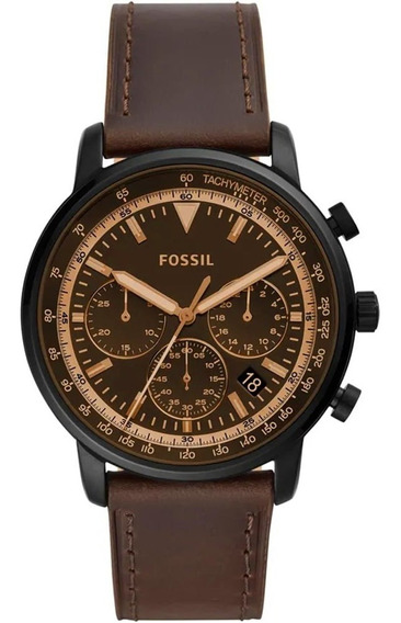 Relógio Fossil Marrom Prata Couro Original Casual Fs5529/0mn