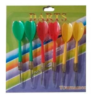 Set De 6 Dardos En Blister De Colores Punta De Metal 11 Cm
