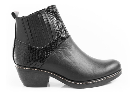 Botas Texanas Botitas Borcegos Zapatos Mujer Cuero Pu