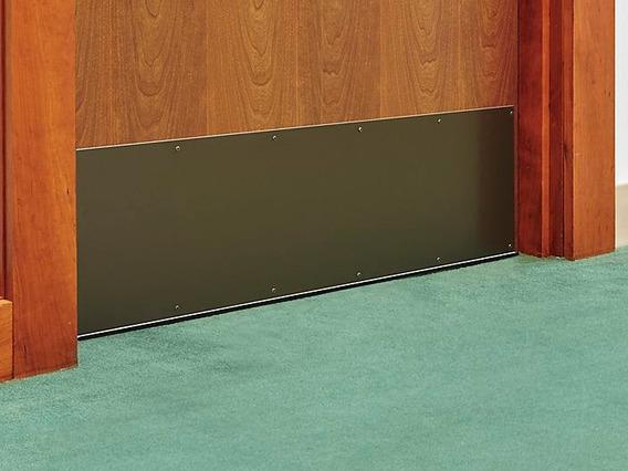 1 Placa De Aluminio Color Bronce De 10x34 Proteccion Puertas