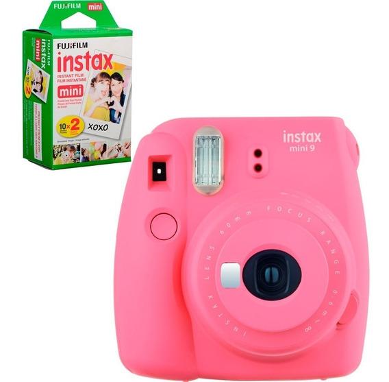 Câmera Instantânea Fuji Instax Mini 9 Rosa Flami + 20 Filmes