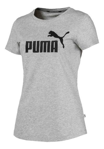 Remera Puma Essentials Logo Gri/neg De Mujer