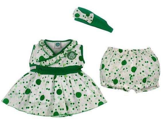 Vestido De Bolinha Revedor Palmeiras Tiara E Short Menina