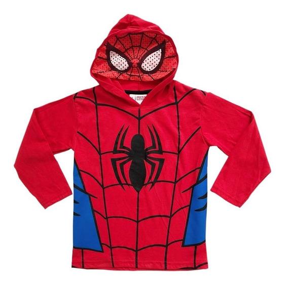 Remera Nene Manga Larga Spiderman Hombre Araña Marvel