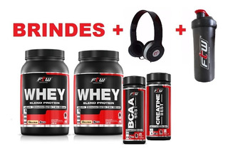 2x Whey Protein Baunilha + Bcaa+ Creatina+2 Brindes Promoção