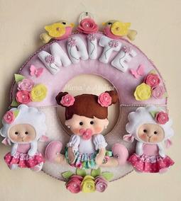Guirlanda Porta Maternidade Bebê Menina Ovelhas