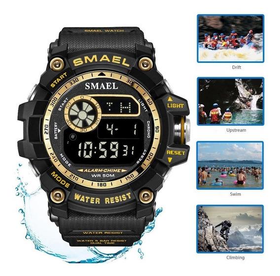 Relógio Digital Caixa Grande Smael Masculino Sports Natação
