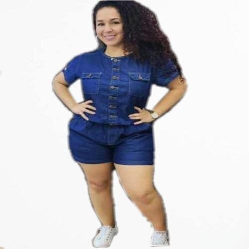 Macaquinho Jeans Feminino Com Botoes Na Frente Plus Size