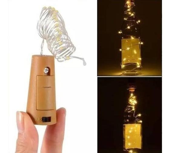 Tapon Luminoso Botella Vino Tira Led X5 Unidades Corcho Luz Alambre Guirnalda Luces Decoracion Centro De Mesa