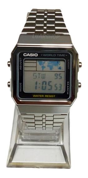 Relogio Casio Digital Prata A500wa Mapa Original C/ Caixa Nf