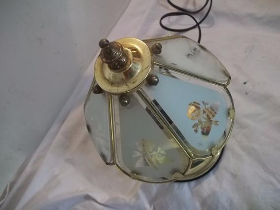 Antigo Abajur Pequeno Metal E Vidro Nao Funciona
