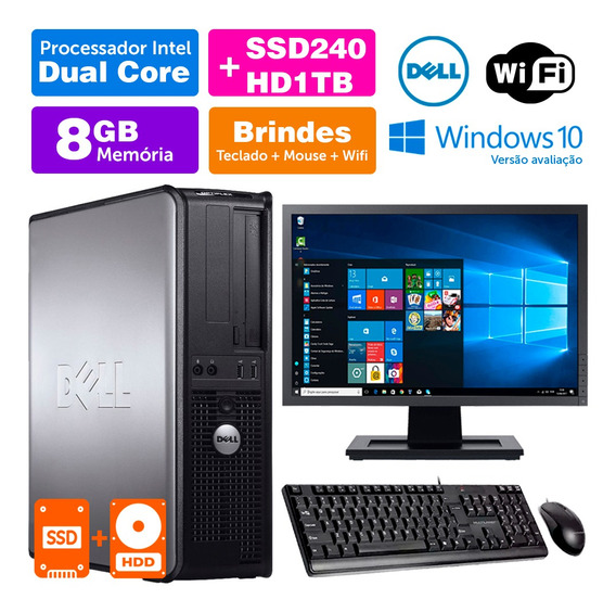 Cpu Usado Dell Optiplex Int Dcore 8gb Ddr3 Ssd240+1tb Mon17w