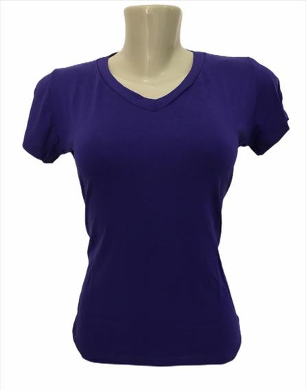 Camiseta Feminina Basica T-shirt Baby Look Gola V Viscolycra