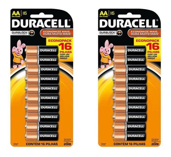 Kit 2 Cartelas Pilhas Alcalina Aa Duracell - Total 32 Pilhas