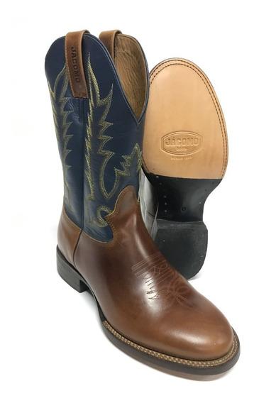 Bota Texana Country Masculina Jácomo Cano Azul Bico Redondo