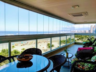 Belíssimo Apartamento Mobiliado De Alto Padrão Frente Mar No Canto Do Forte. - Ap2287
