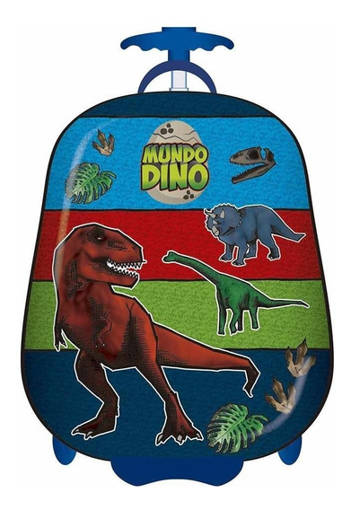 Mochila Dinosaurios Con Carro Semi Rígida Valija 16 Pulgadas