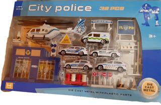 Brinquedo Playset 32 Peças City Police Veículos E Acessórios