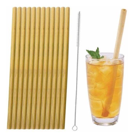 Pack 6 Bombillas Reutilizable Bambú Con 6 Cepillos