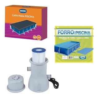 Kit Capa Forro E Filtro Bomba Para Piscina 7600 L Mor