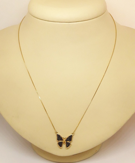 Corrente Ouro 18k 750 Veneziana Com Borboleta 40cm 2,80g