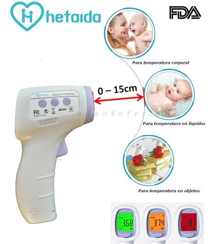Termómetro Digital Infrarrojo Hetaida Fda Mide0-15cm Distcia