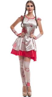 Fantasia Luxo Boneca Assassina Anabelle Halloween 38 Ao 50