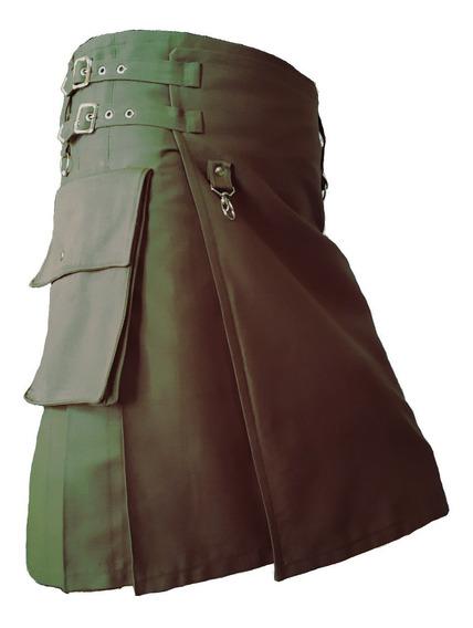 Saia Kilt Masculina Cargo Verde Exército - Cintura 99 Cm