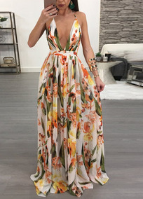 Mujeres Maxi Vestido Gasa Impresión Floral Zambullida V Cue